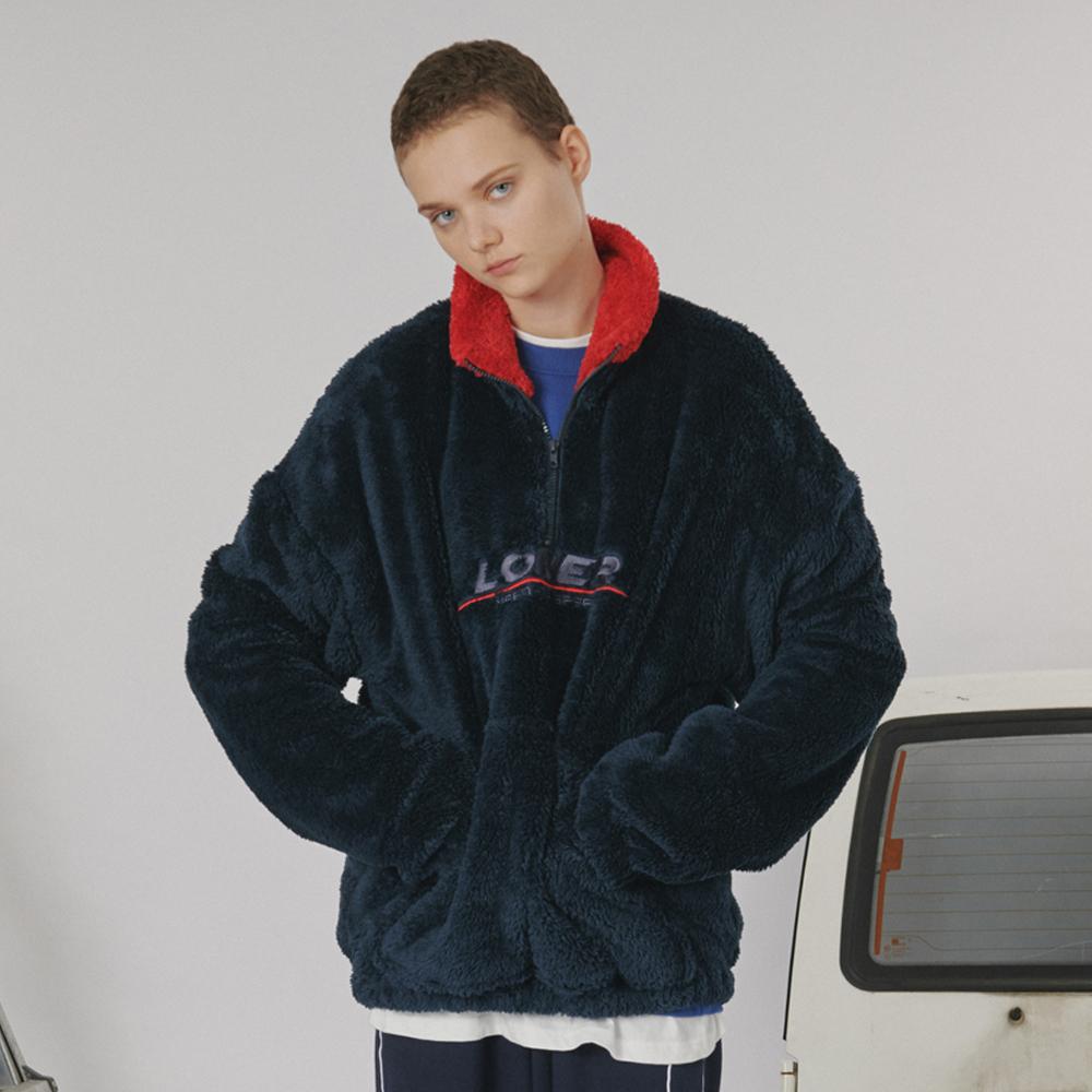[로너] Fur fleece half zipup -blue