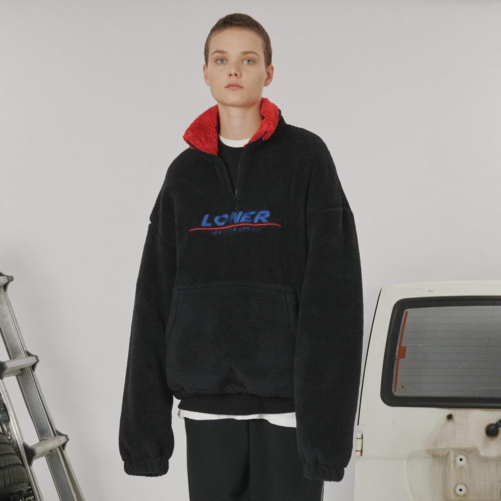 [로너] Fur fleece half zipup -black