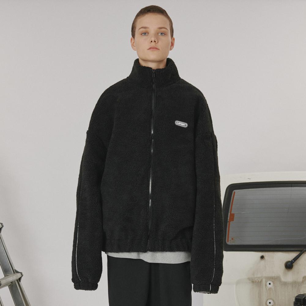 [로너] Highneck fleece zipup -black