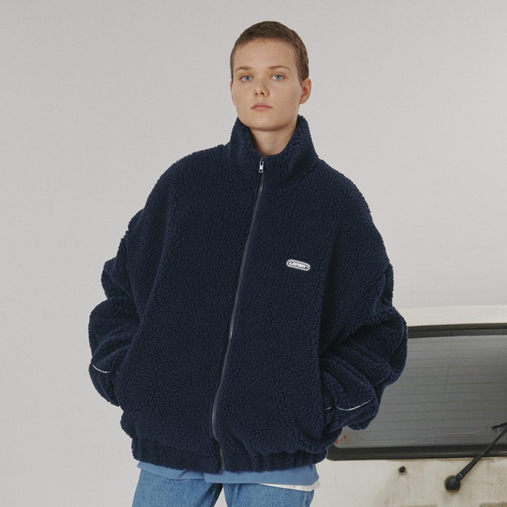 [로너] Highneck fleece zipup -navy