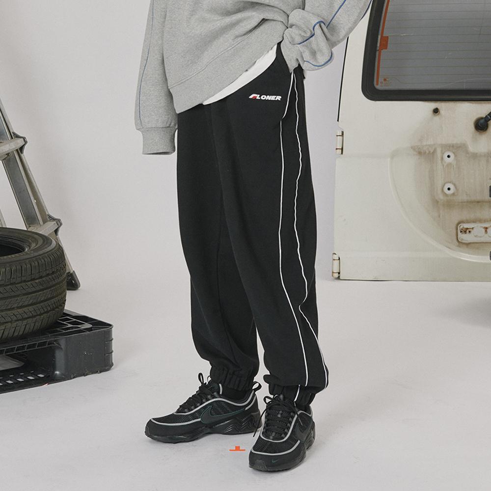 [로너] Side line track pants -black