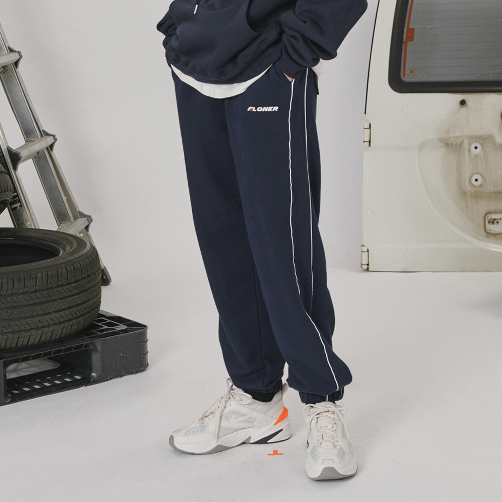 [로너] Side line track pants -navy