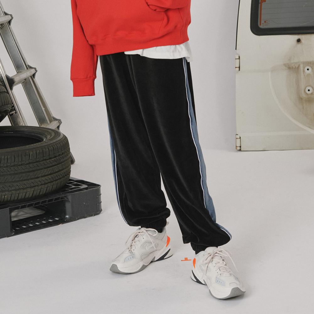[로너] Velvet track pants -black