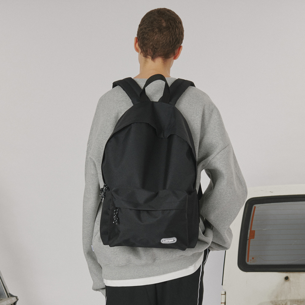 [로너] Rubber logo backpack -black