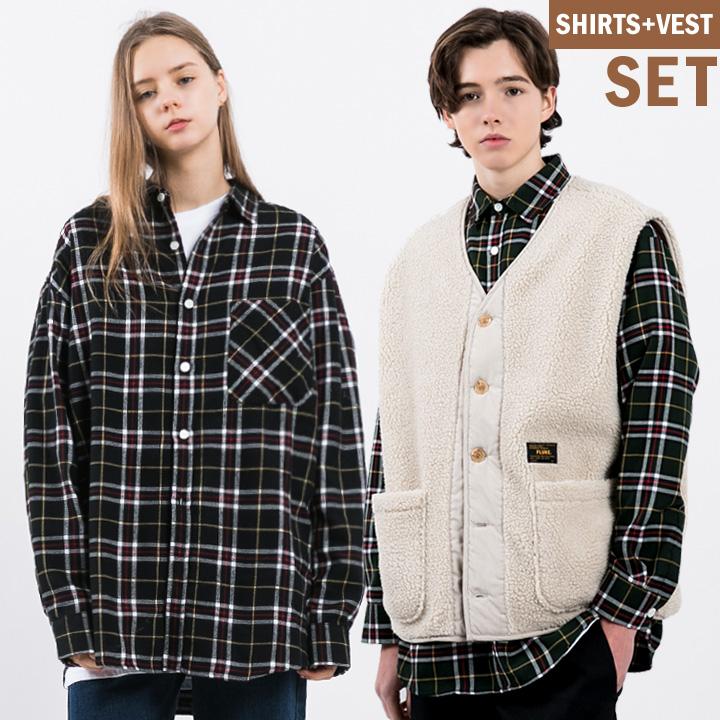 [1+1] 플루크 테디 양털조끼+타탄체크 오버핏 셔츠 FLSC903+FVTC700