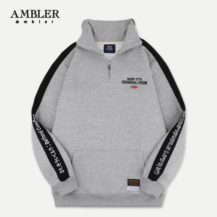 [엠블러]AMBLER 신상 자수 하프집업 아노락 ANO106-멜란지