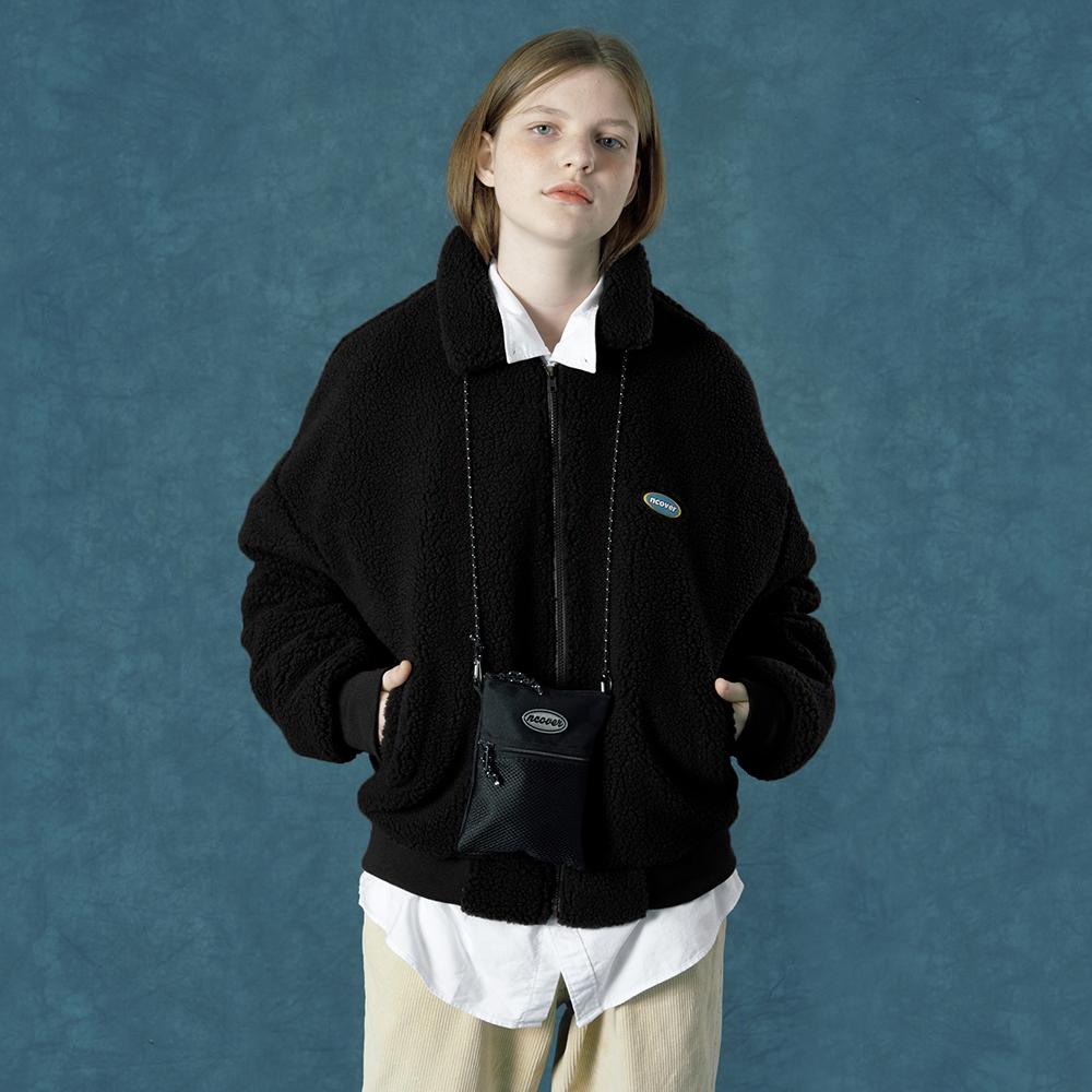 [앤커버] Rubber fleece jacket-black