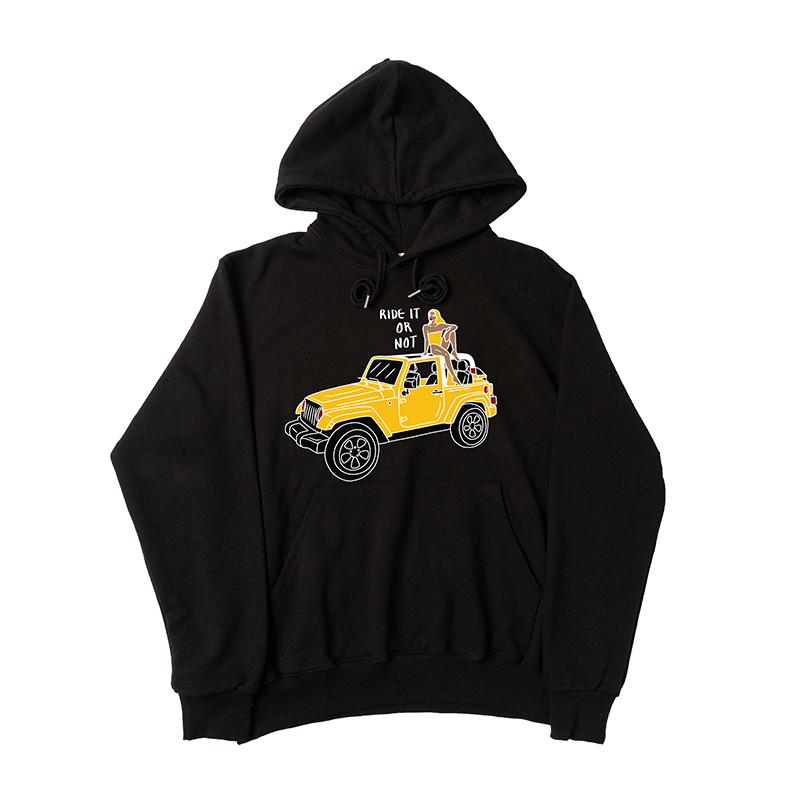 A GIRL WITH THE CAR BLACK HOODIE