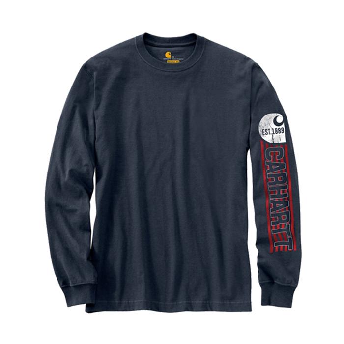 칼하트 롱슬리브 로고 티셔츠 네이비 / 103142-412