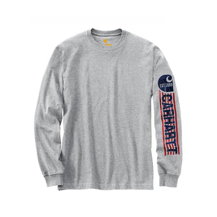 칼하트 롱슬리브 로고 티셔츠 헤더그레이 / 103142-034