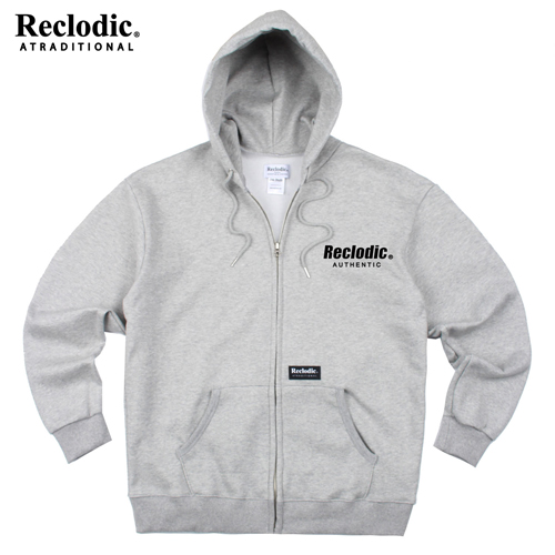 Authentic Logo Hoodie Zipup Gray