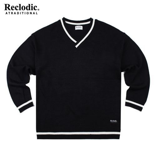 V-neck Overfit Knit Shirts Black