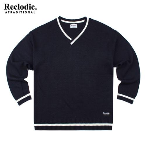 V-neck Overfit Knit Shirts Navy