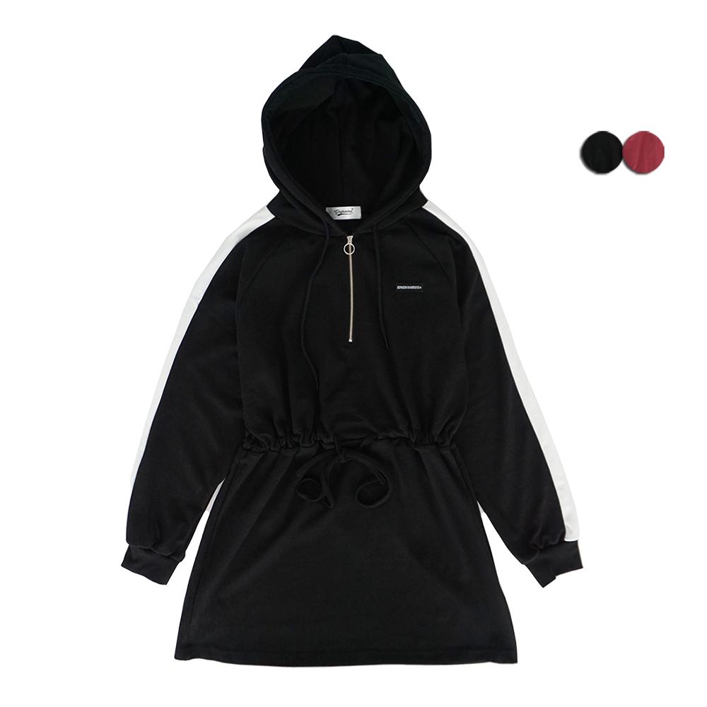 [08/15]SIDE LINE HOODIE ANORAK DRESS(2COLOR)*여성용 사이드라인 후디 아노락 드레스