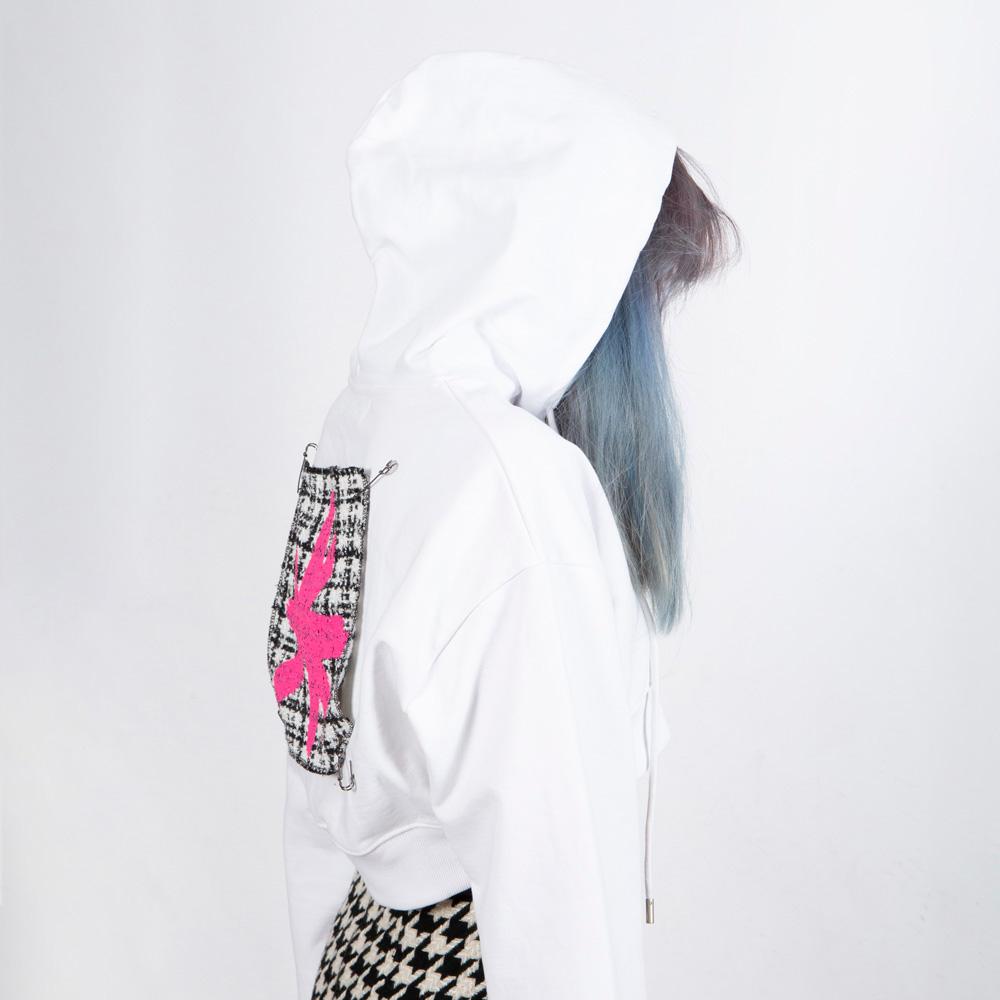 BBD Tweed Patch Crop Hoodie (White)