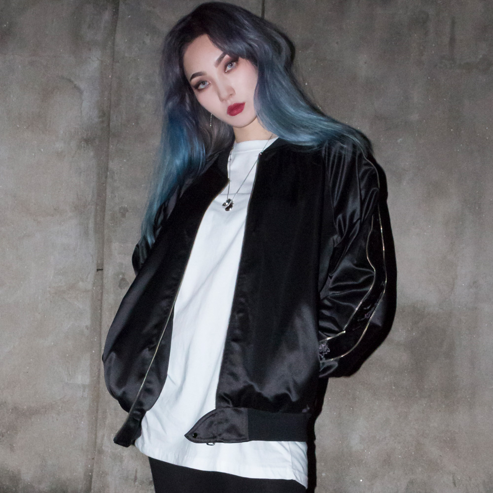 BBD Zip Velvet Armed Sukajan Jacket (Black)