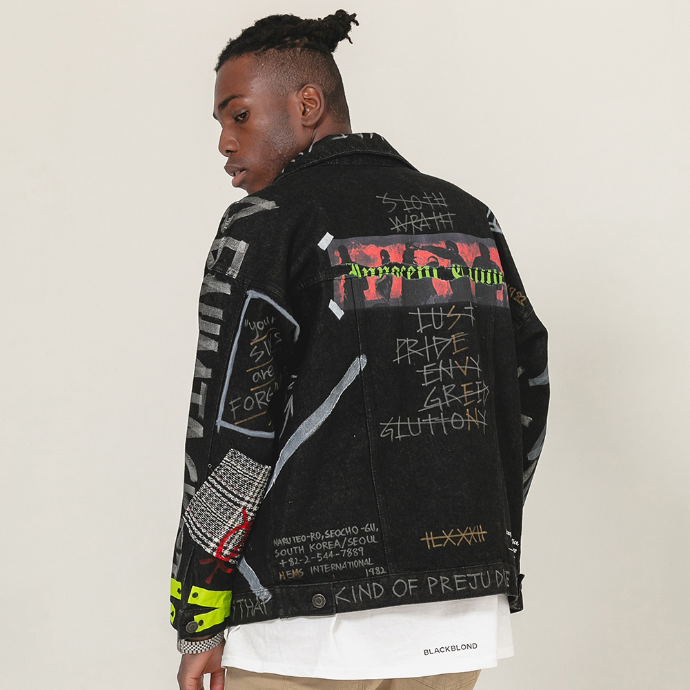 BBD Innocent Graffiti Denim Jacket (Black)