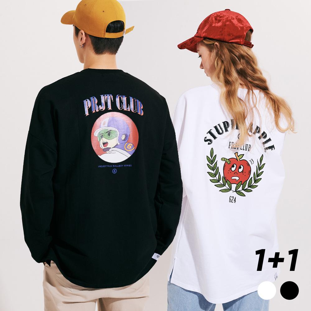 [1+1]  스튜핏애플 볼보이히어로 옆트임 롱슬리브 티셔츠