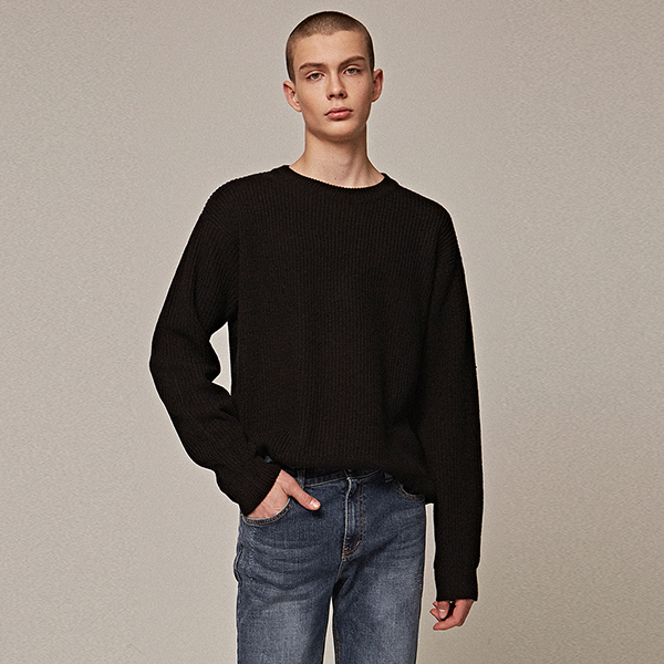 OVER ROUND KNIT_BLACK