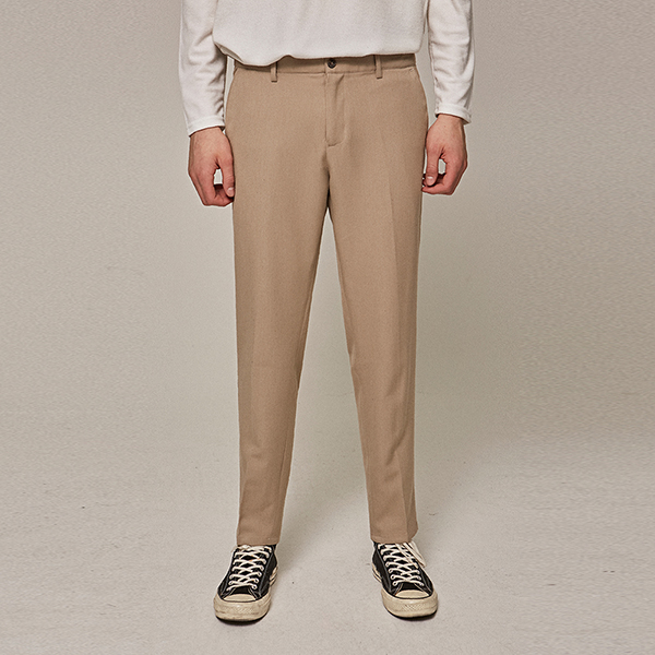 BASIC STRAIGHT SLACKS_BEIGE