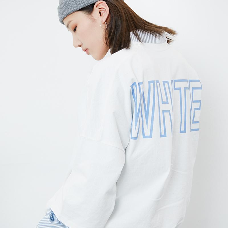 [DYBY]유니섹스 COLOR 오버핏 8부 티셔츠 화이트