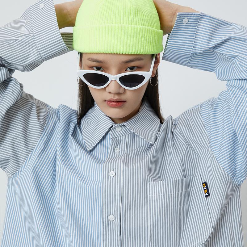 [DYBY]유니섹스 COLOR 오버핏 스트라이프 셔츠 그레이