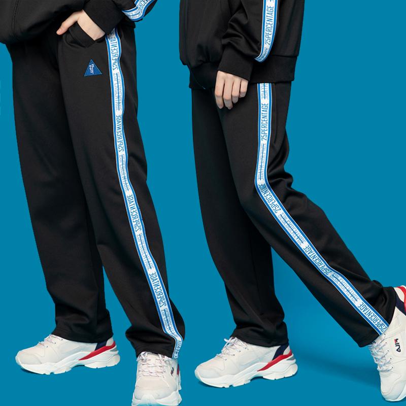 [이십오퍼센테이지]25P LOGO TAPE TRACK PANTS_black(blue line) [트랙팬츠]