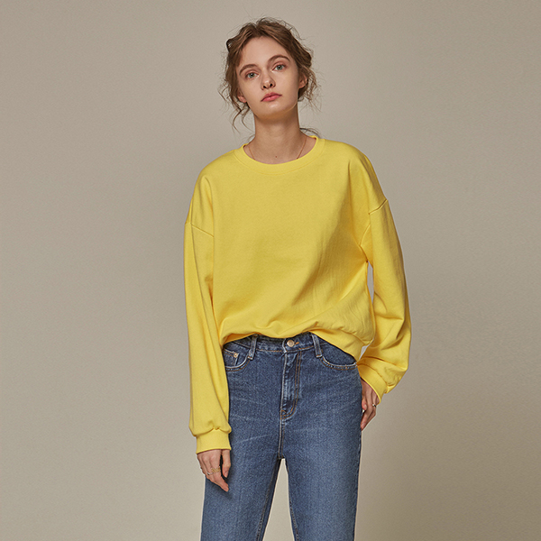 CROP BROOCH CREW NECK_YELLOW