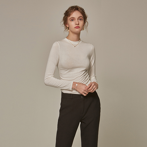 SLIM ROUND LONG T-SHIRTS_IVORY