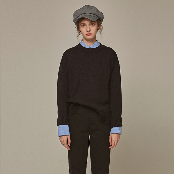 SLIT ROUND OVER KNIT_BLACK