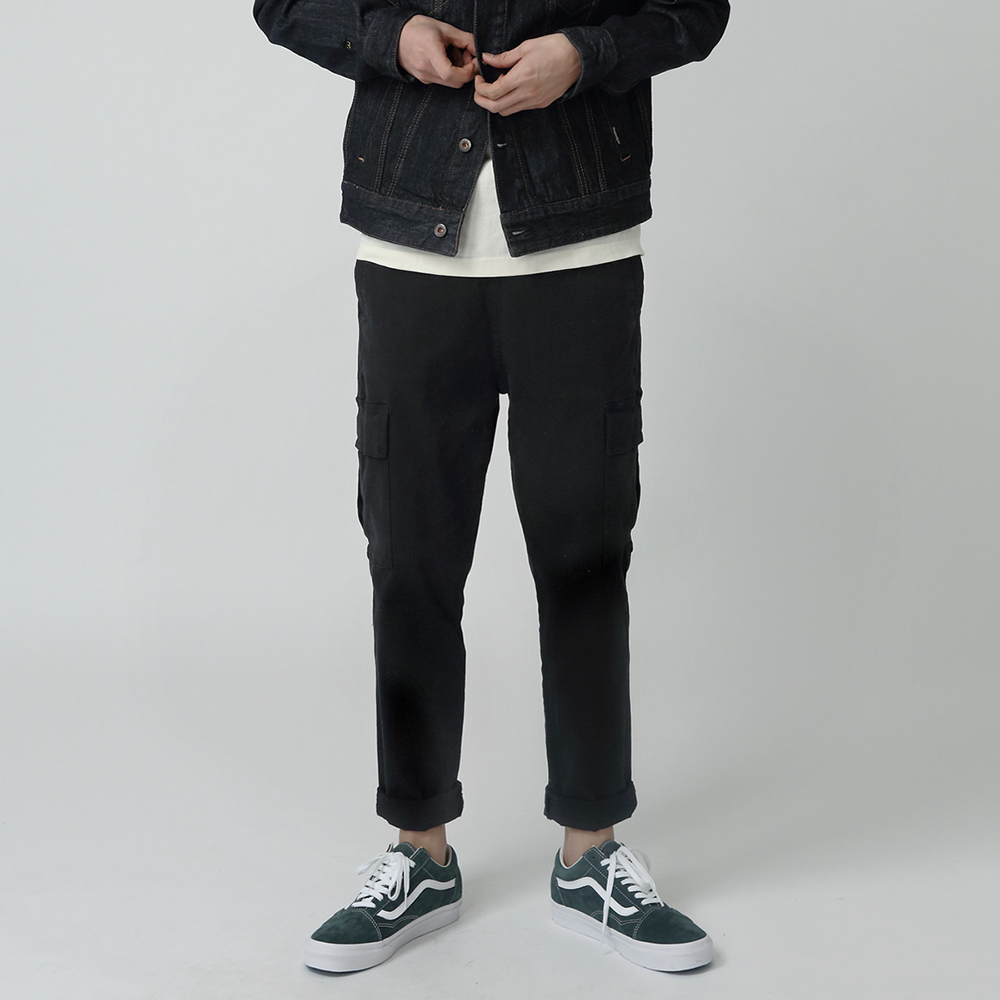 카버 4202-앵클 카고(블랙)_레귤러핏 팬츠