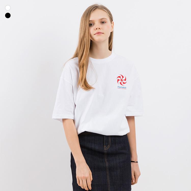 [크루비단독]프롬에이투비 반팔 티셔츠 TOB19ST003 링스팟 로고 오버핏 티셔츠