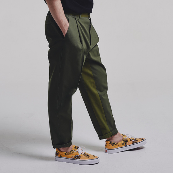 Mixed tapered pants_KHAKI