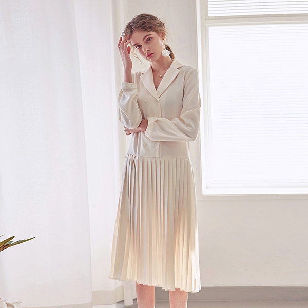 [10/9] PLEATS DOUBLE LONG OPS_IVORY