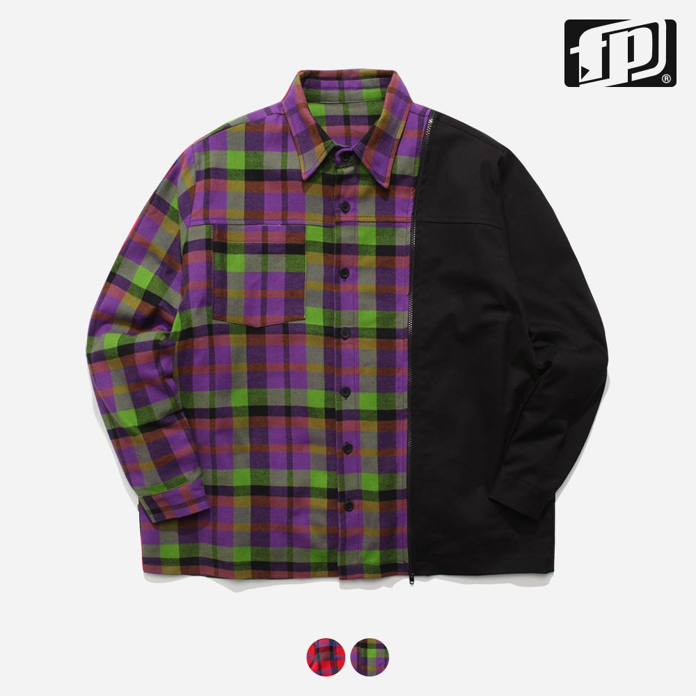 [페플] 도킹체크 셔츠 연두 JHLS1153