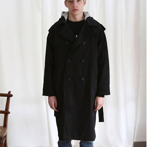 UNISEX TRENCH DOUBLE COAT BLACK