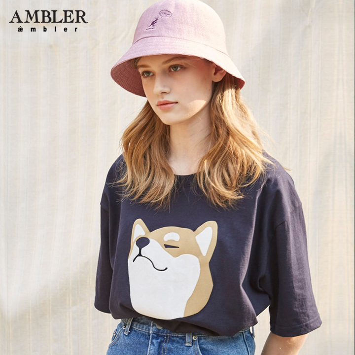 [엠블러]AMBLER 19SS 신상 시바이누 반팔 티셔츠 - 네이비