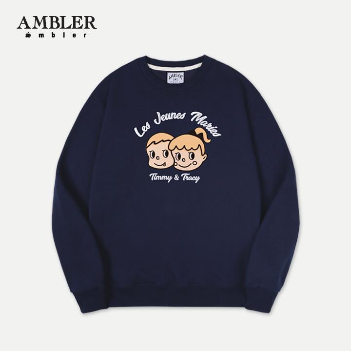 [엠블러]AMBLER 19SS신상 자수 프린팅 맨투맨 티셔츠 AMM701-네이비