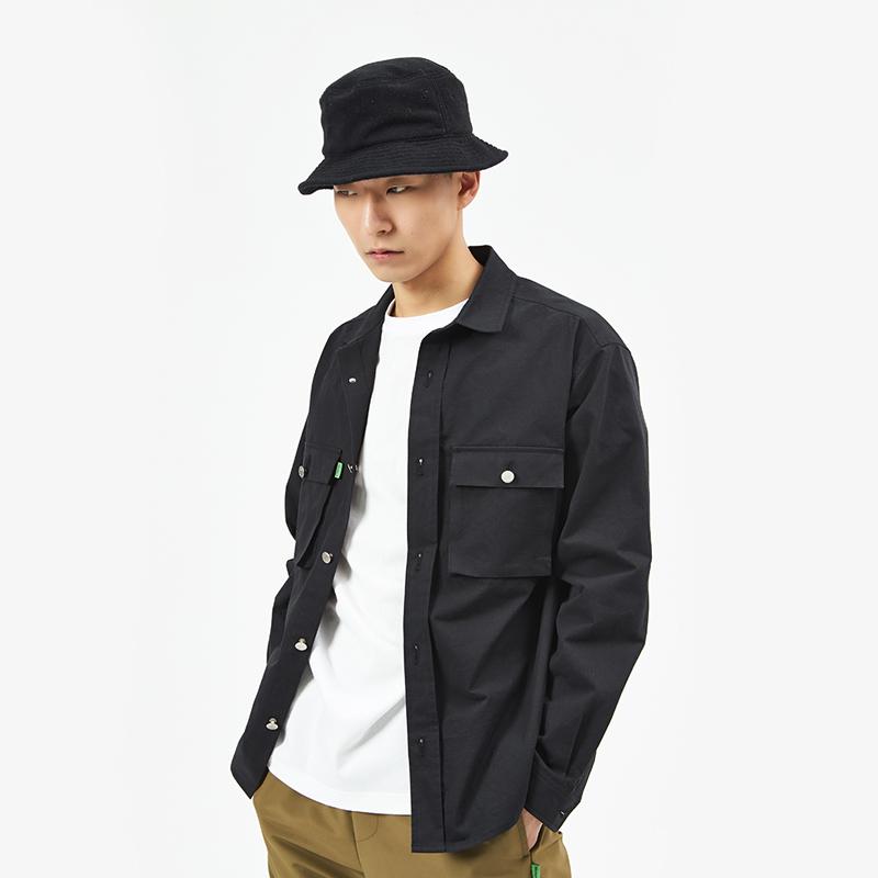 [단독시즌오프]코튼 오버셔츠 자켓 (남자) (SBS1SH01) (BLACK)
