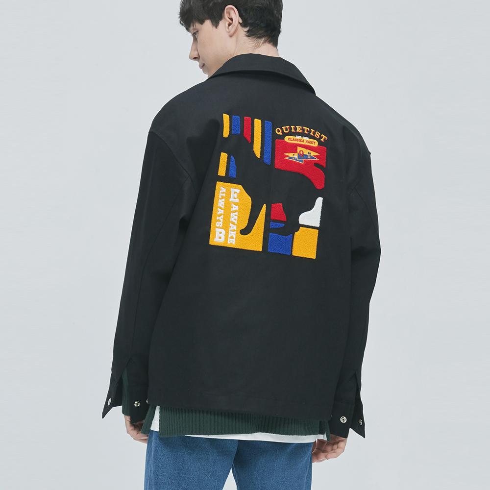 Flag Panel Embroi Coach Jacket (black)