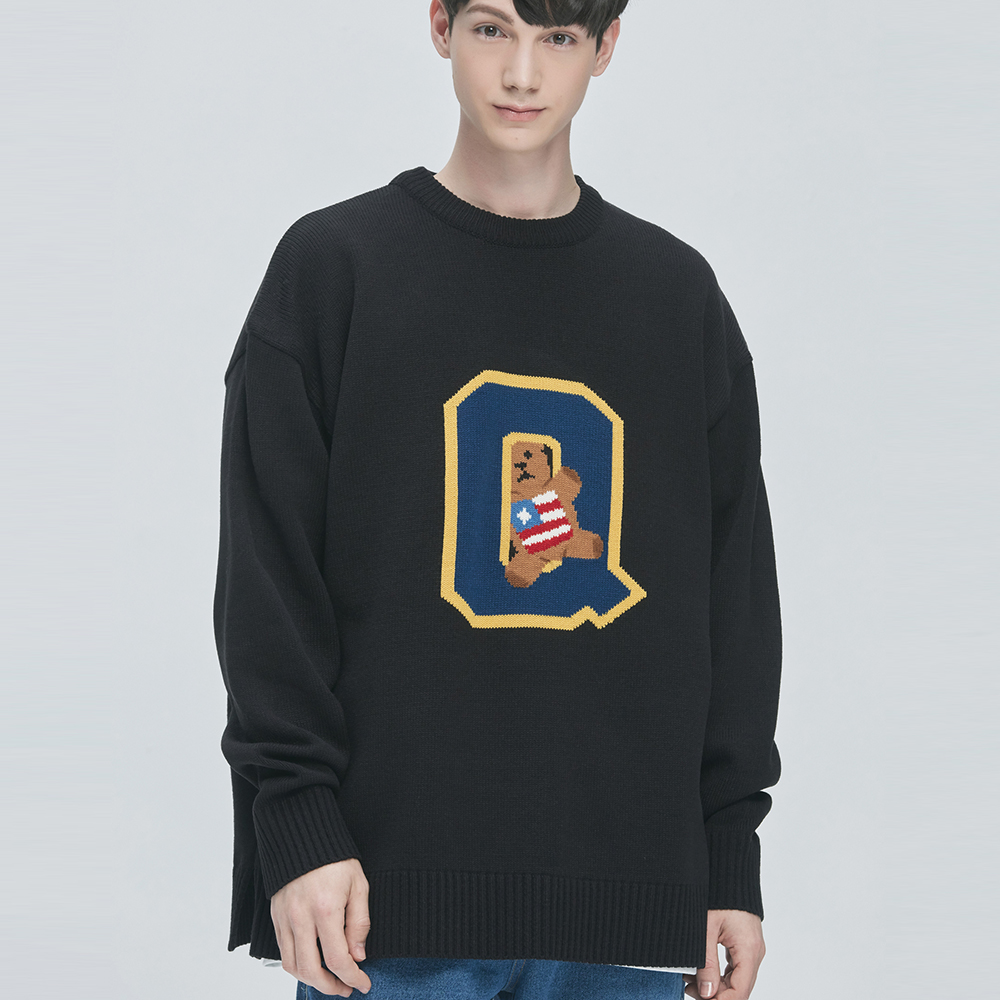 College-Bear Logo Knit Sweater (black)