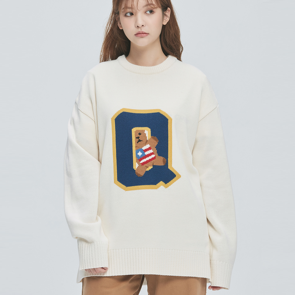 College-Bear Logo Knit Sweater (ivory)