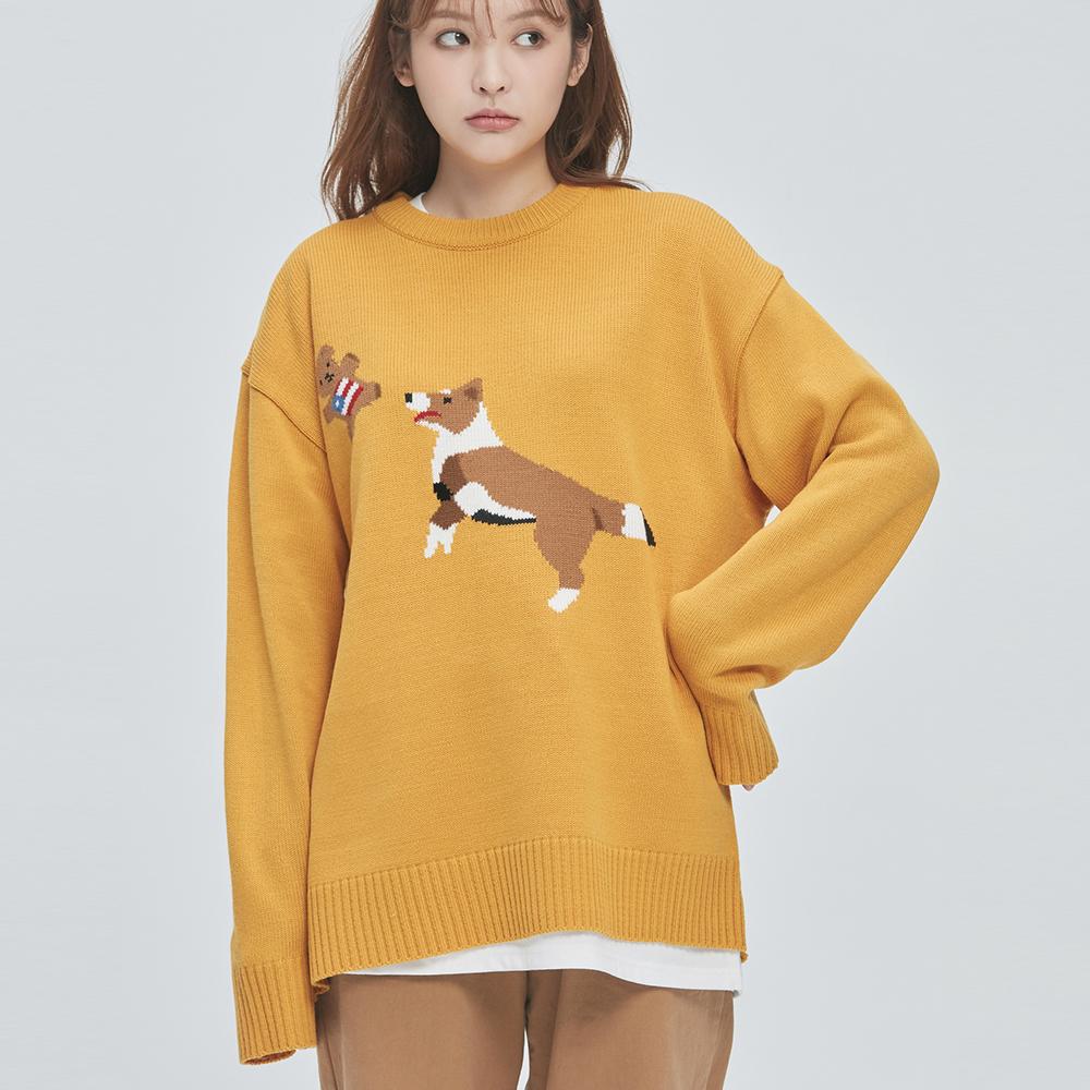 Jump & Bite Knit Sweater (yellow)