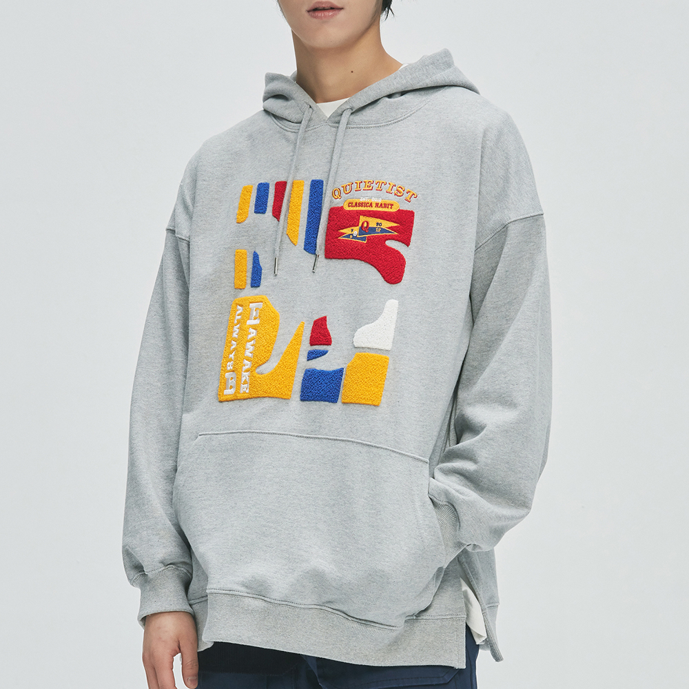 Flag Panel Embroi Sweat-Hood (gray)