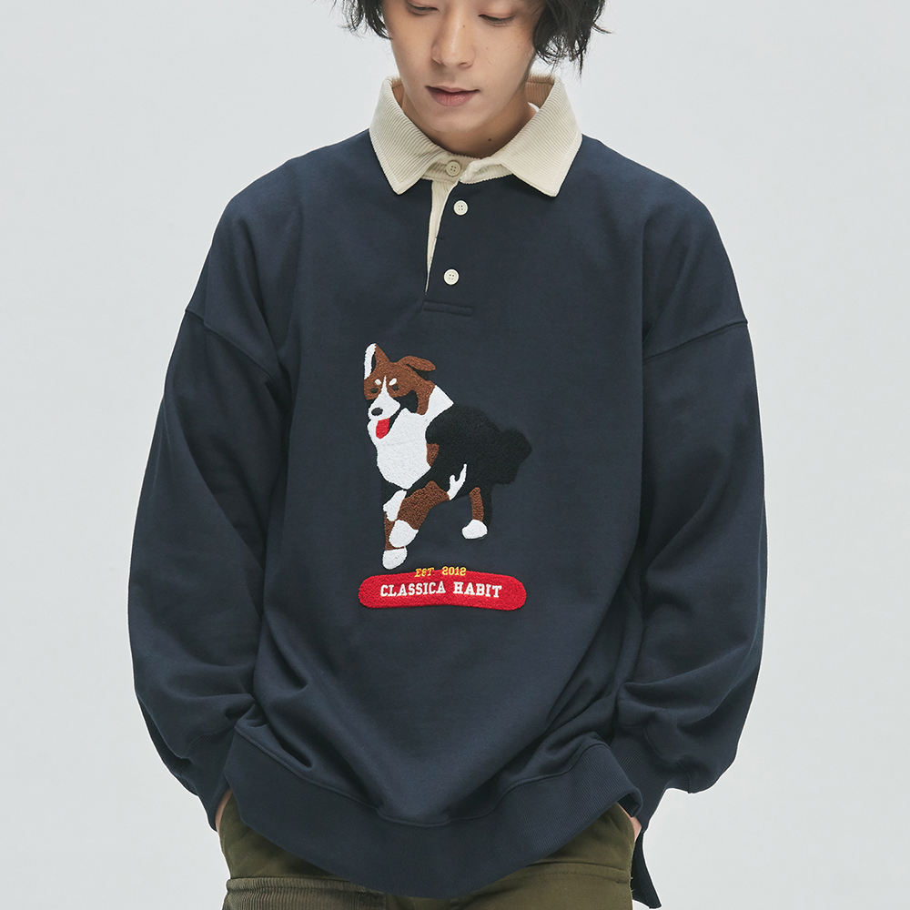 Border collie Rugby Sweat (navy)