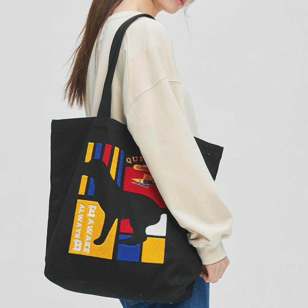 Flag Panel Embroi Canvas Bag (black)