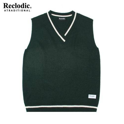 V-neck Overfit Knit Vest Green
