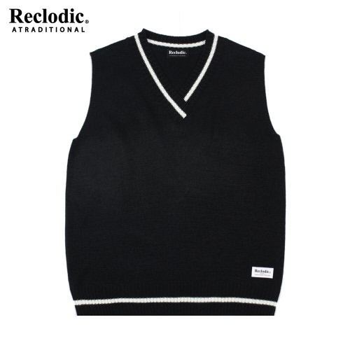 V-neck Overfit Knit Vest Black