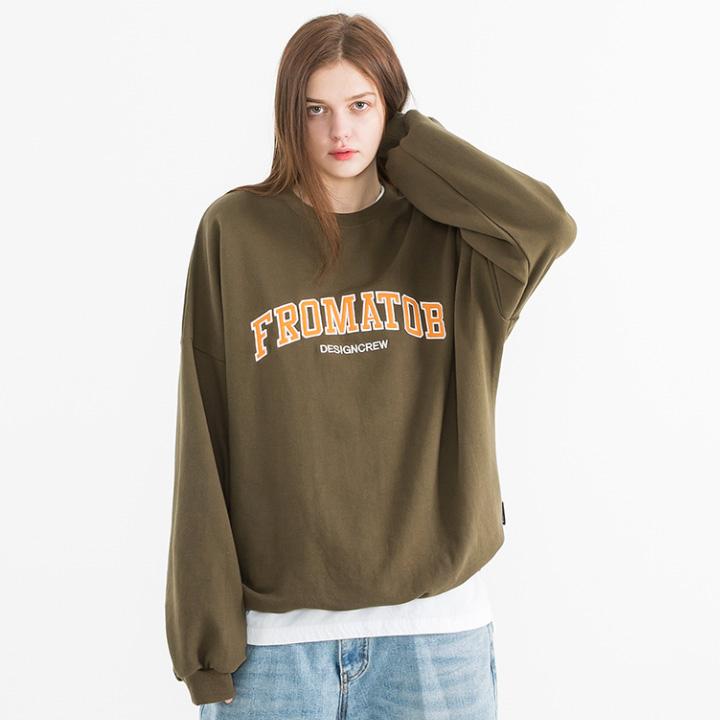 프롬에이투비 맨투맨 티셔츠 TOB19MT307 아치 로고 패치 오버핏 맨투맨 티셔츠