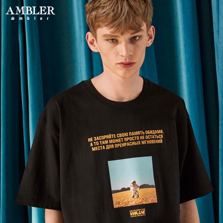 [엠블러]AMBLER 19SS 신상 반팔 티셔츠 AS612-블랙